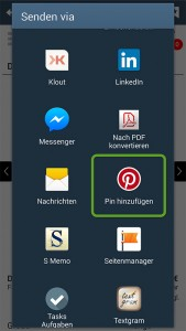 Pinterest Share-Funktion auf dem Smartphone