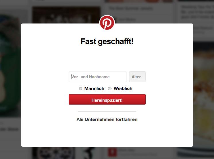 Registrieren bei Pinterest 2