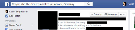 Facebook Graph Search Umgang mit Suche