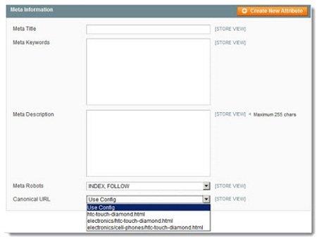 Abb. 1: Volle Konfigurierbarkeit der SEO-relevanten Seitenelemente im Backend von Magento