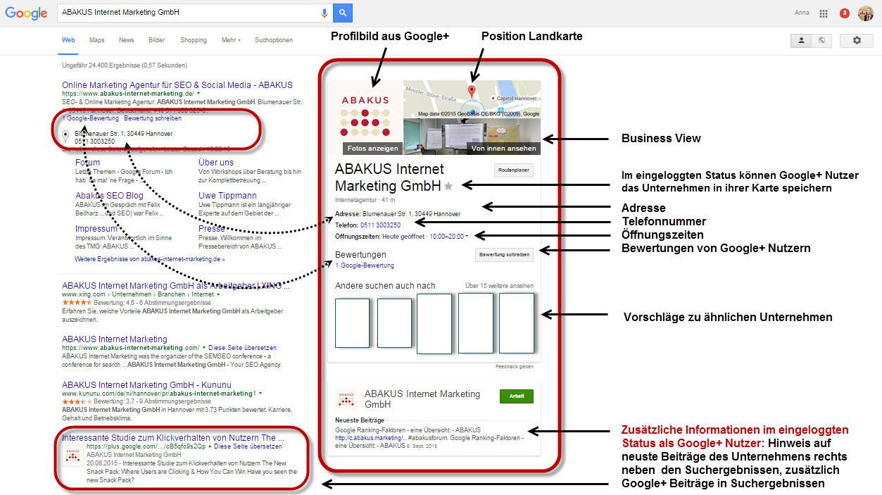 Google suchergebnisse unter Einbezug der Daten einer Google+ Unternehmensseite