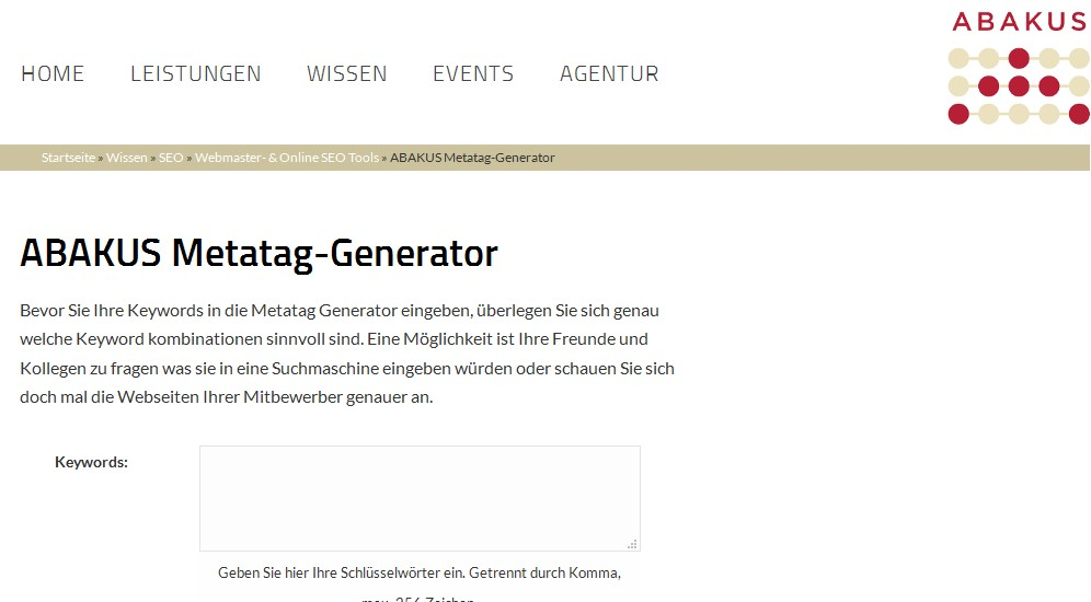 Landingpage ABAKUS Metatag-Generator