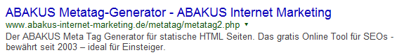 SERP ABAKUS Metag-Generator mit optimierter Meta-Description