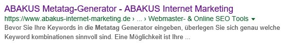 SERP ABAKUS Metag-Generator mit nicht optimierter Meta-Description