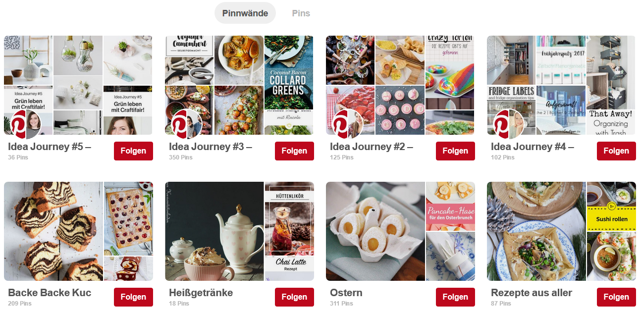 Pinterest für Unternehmen - Pinnwand