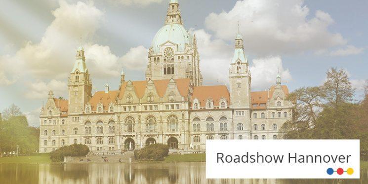 Blick auf die hintere Seite des Neuen Rathauses in Hannover