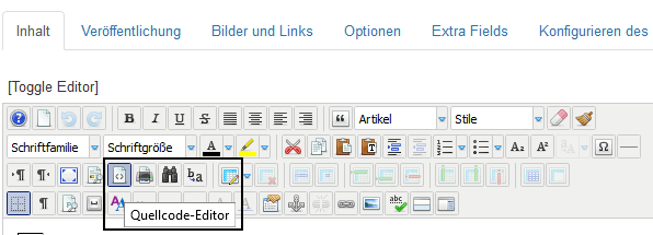 Toggle Editor in den Quellcode Editor