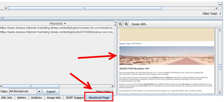 Abb. 2: Gerenderte Inhalte je URL einsehbar