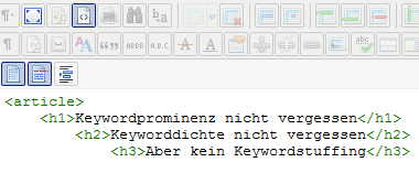 Quellcode-Editor Überschriftenhierarchie