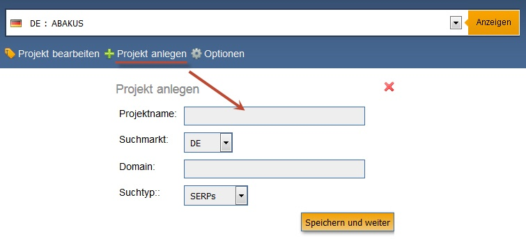 Keyword Monitor: Neues Projekt anlegen