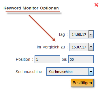 Keyword Monitor: Optionen