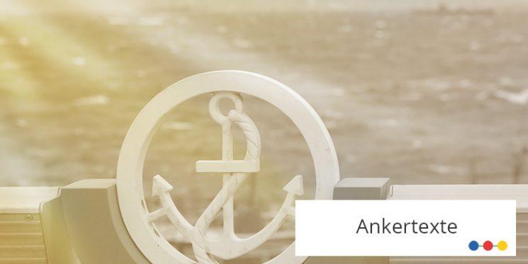 Weißer Anker im Kreis und Wellen im Hintergrund