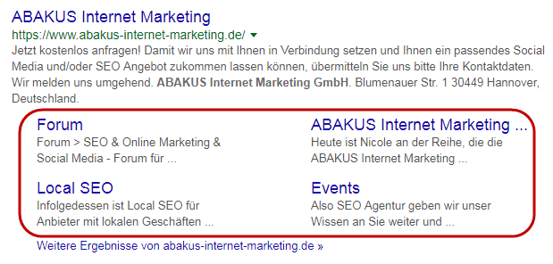 ABAKUS in den SERPs
