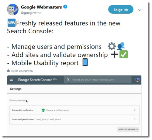Webmasters Tweet zur Google Search Console