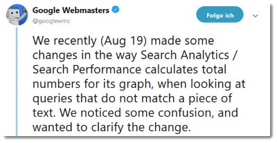 google Webmasters Tweet Search Performance
