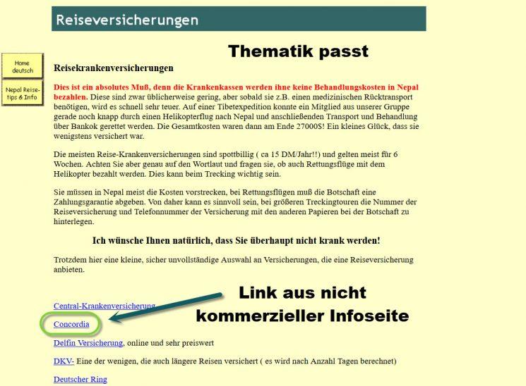 Private Homepage mit der Thematik Reiseversicherung hat einen thematischen Backlink gesetzt