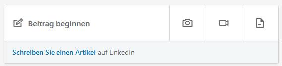 """Bild """"Beitrag beginnen"""", um einen Post auf LinkedIn.de zu verfassen"""