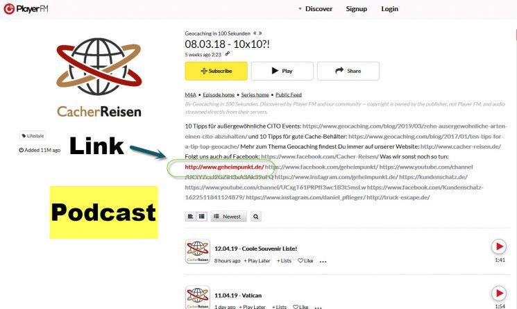 Bild des Verweises in der Beschreibung des CacherReisen-Podcasts