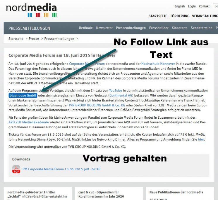 Markierter Screenshot mit Links zu verschiedenen Firmen in einer Pressemeldung der Firma nordmedia