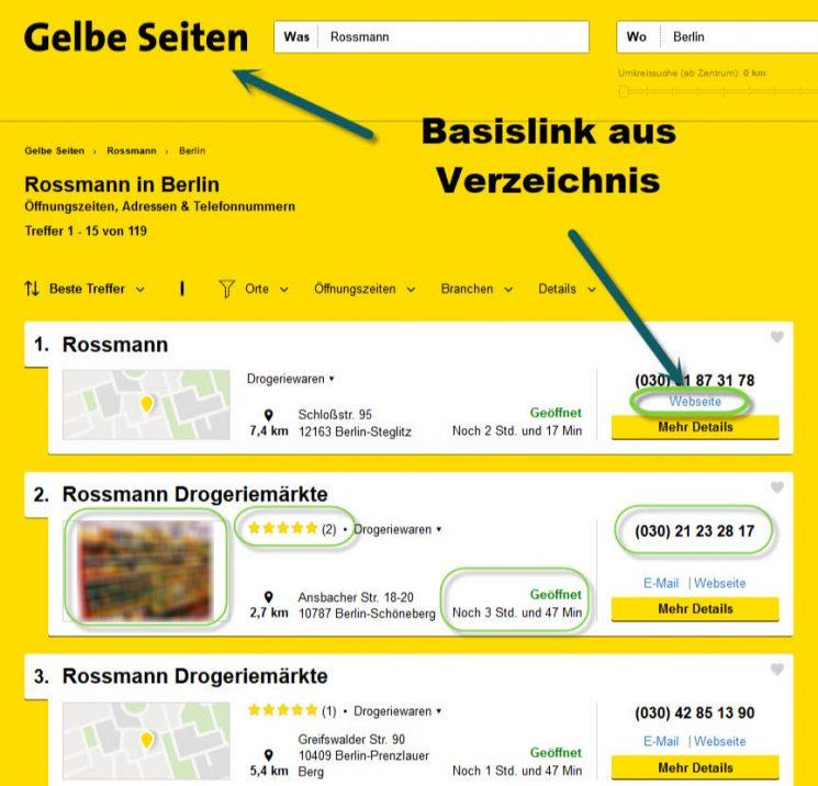 Markierte Gelbe Seiten Branchenbuch Einträge mit Webseitenangabe und Öffnungszeiten