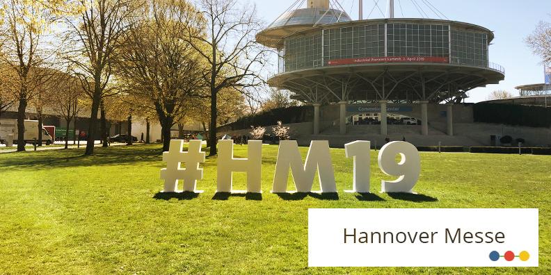 HANNOVER MESSE #HM19 Zeichen auf dem Messegelände in Hannover