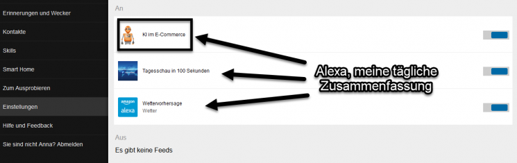 """Ein Screen zeigt die Anzeige von Alexa auf AMAZON zur """"täglichen Zusammenfassung"""""""