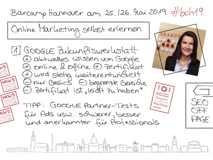 """Sketchnote für das Barcamp Hannover zur ABAKUS Session """"Online Marketing selbst erlernen"""""""