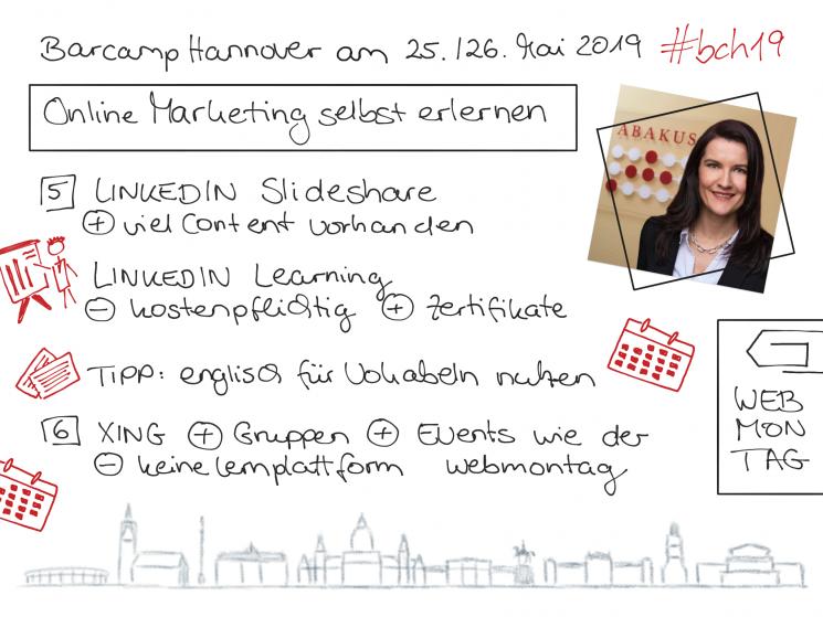 Sketchnote 3 zur Barcamp Session von ABAKUS zu kostenlosem Online Marketing Input für Beginner