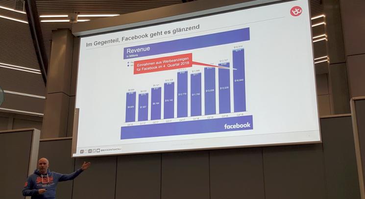 Eine Folie zeigt eine Tabelle der Einnahmen aus Werbeanzeigen bei Facebook