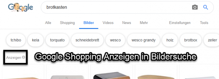 Screenshot von Suchergebnissen aus der Bildersuche zum Thema Brotkasten: Die erste Bilderreihe besteht aus Anzeigen