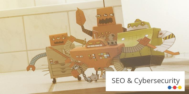 Vier Roboter sind auf der Abbildung zu SEO & Cybersecurity zu sehen