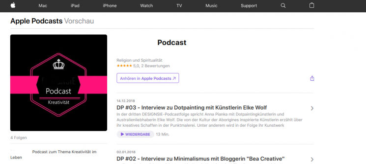 Podcast bei Itunes