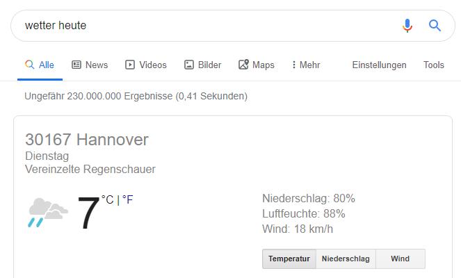 Google Suchergebnis Screenshot