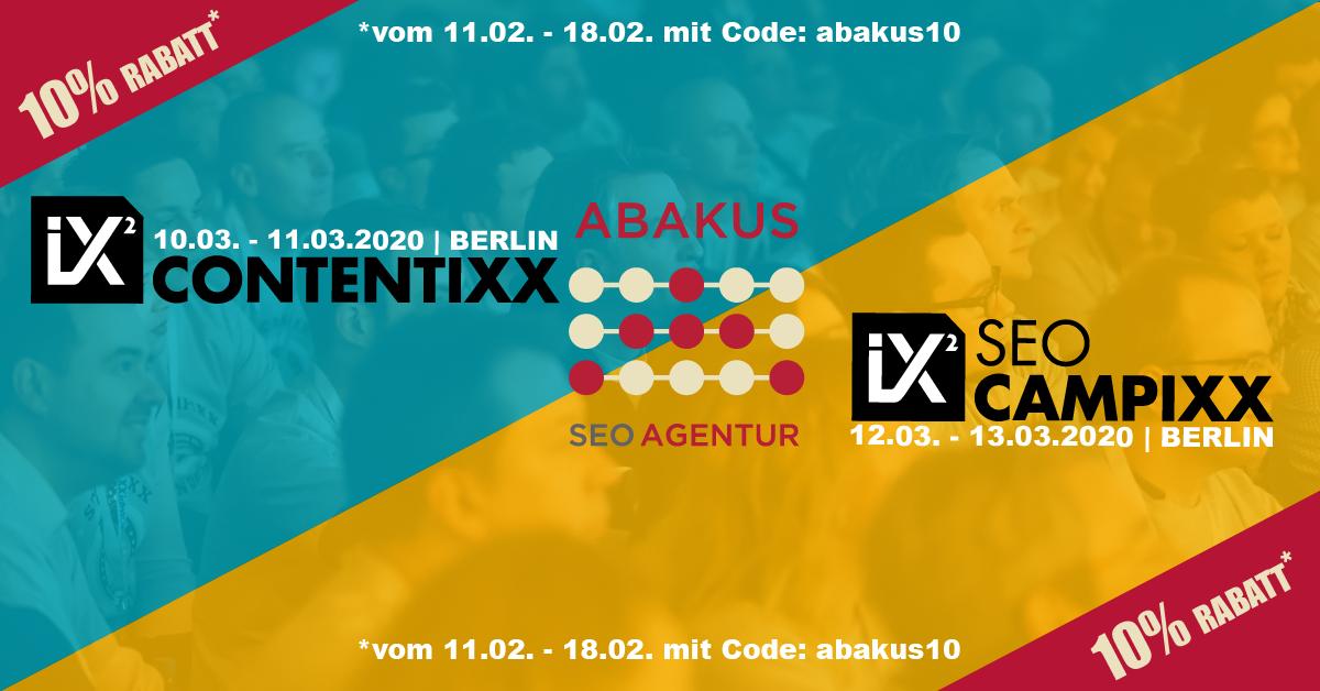 10 % Vergünstigung mit ABAKUS für die Contentixx und SEO Campixx 2020