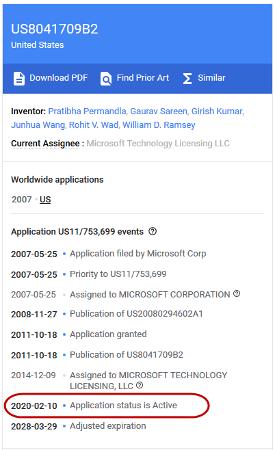 Google Patent aktiv