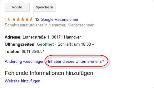 Google My Business: Eintrag beanspruchen