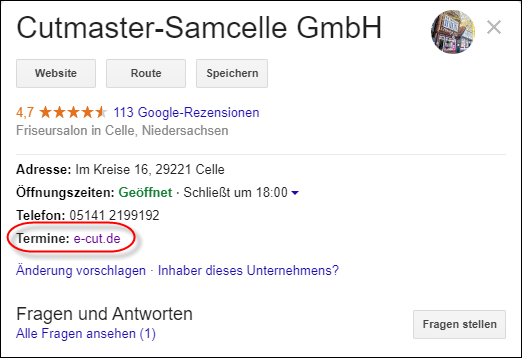 Google My Business: Link im Profil