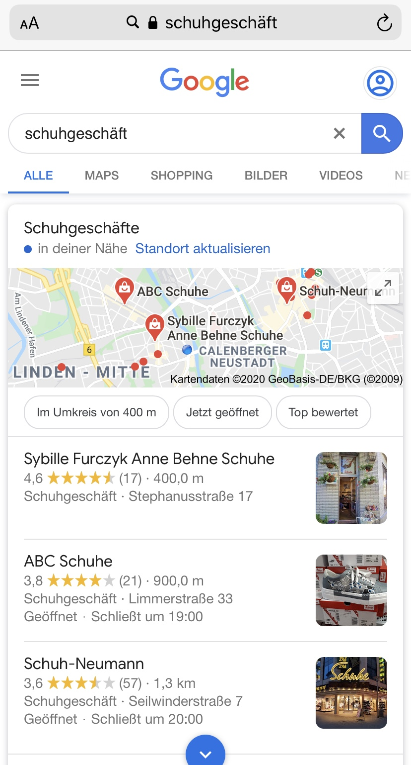 Google My Business: Local Snack Pack am Smartphone 2