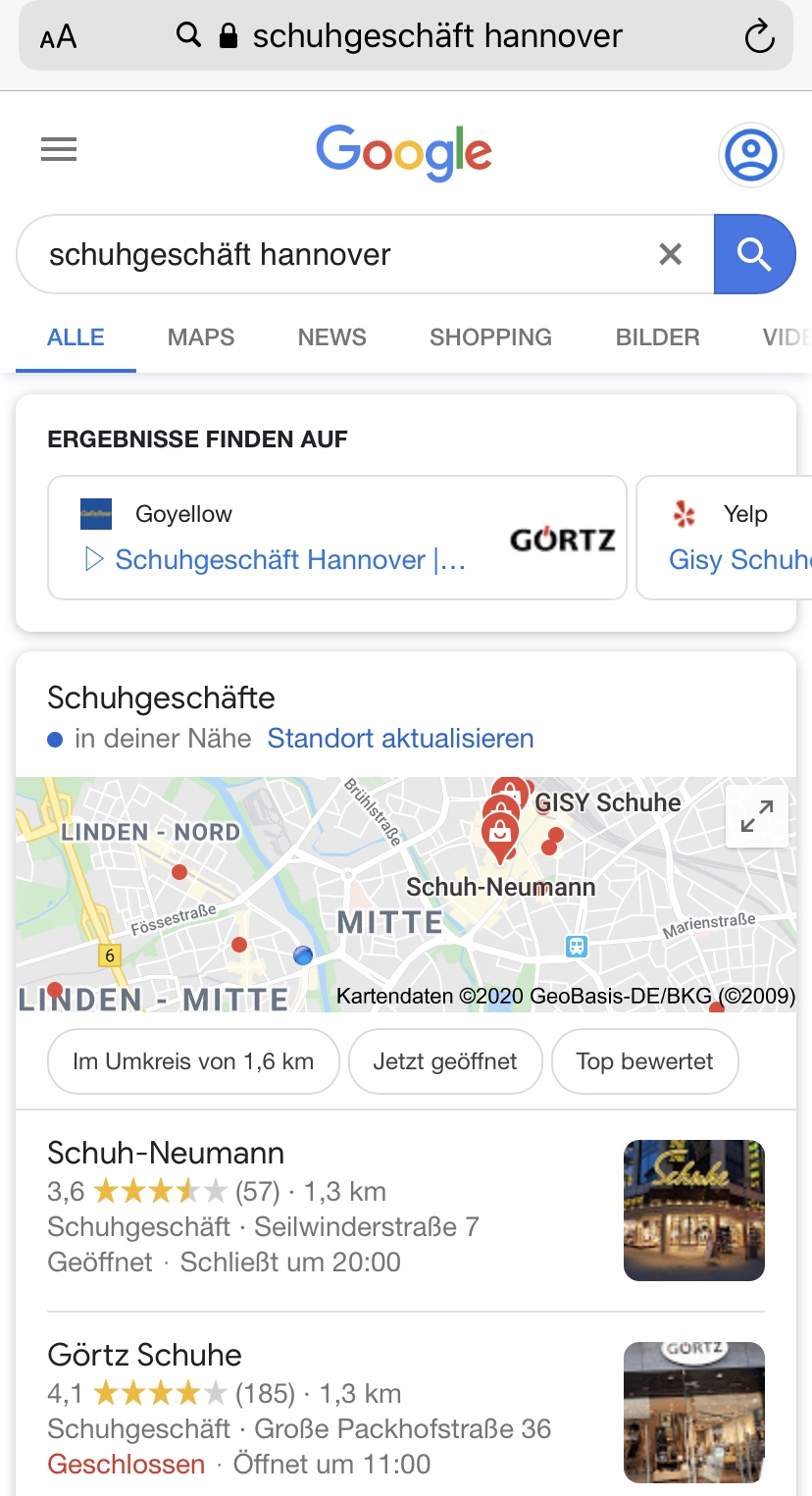 Google My Business: Local Snack Pack am Smartphone 3