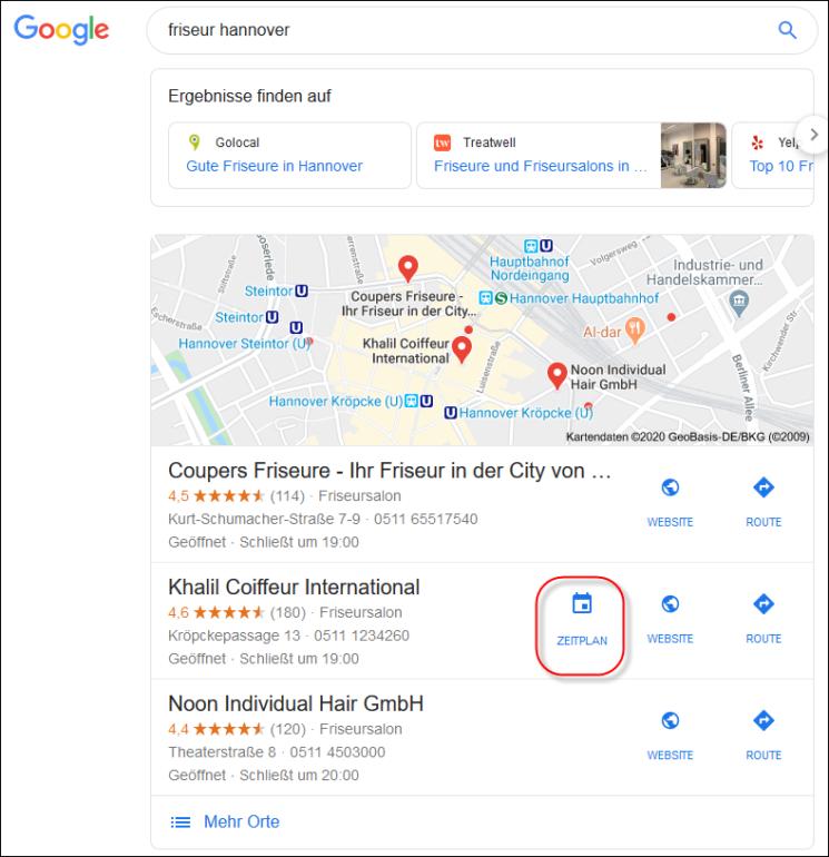 Google My Business: Local Teaser -Termin buchen
