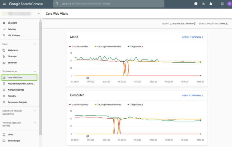 Darstellung der Core Web Vitals in der Google Search Console