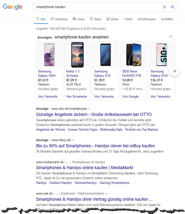 Suchergebnisse: Smartphone kaufen - Screenshot