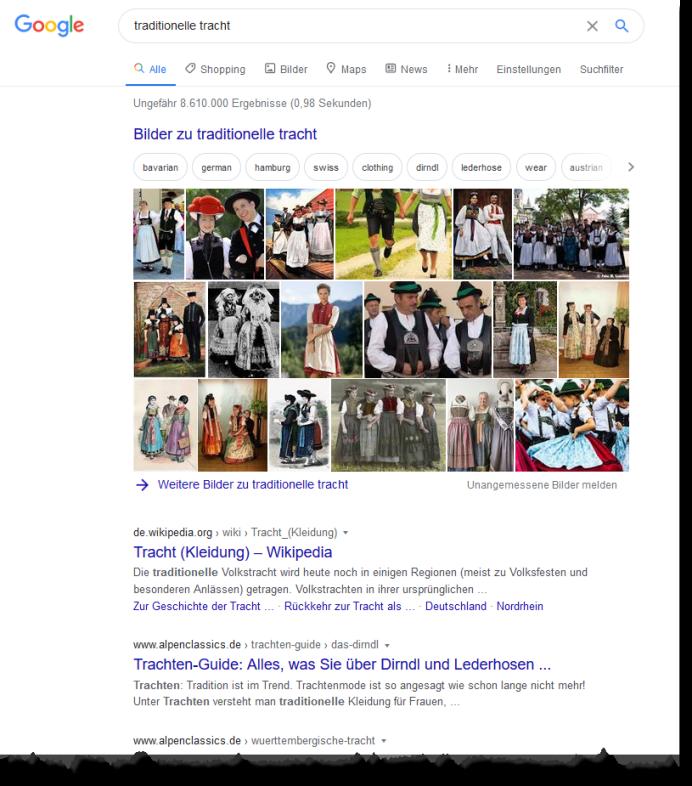 Suchergebnisse: traditionelle Tracht - Screenshot