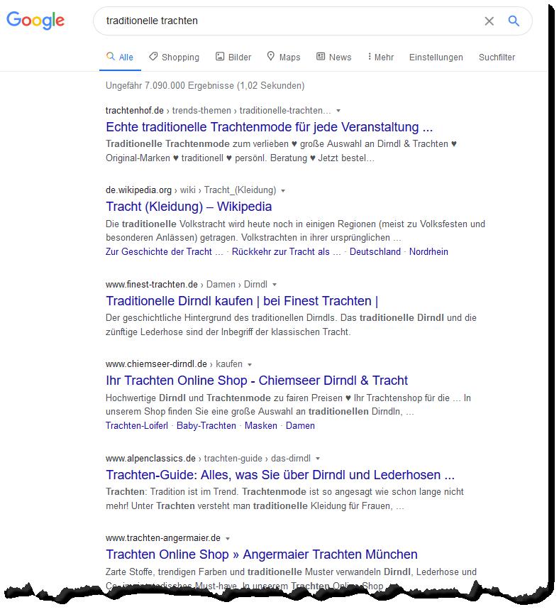 Suchergebnisse: traditionelle Trachten - Screenshot