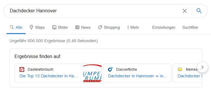 Screenshot Dachdecker Hannover