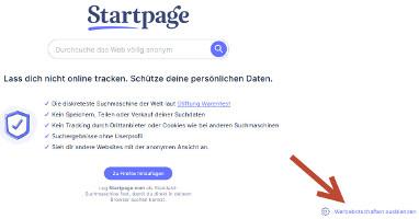 Startpage Werbebotschaften abstellen