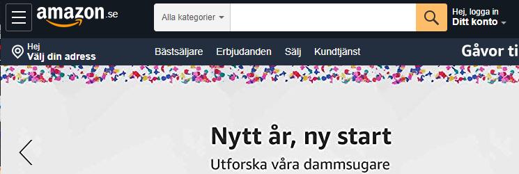 Amazon Schweden Screenshot