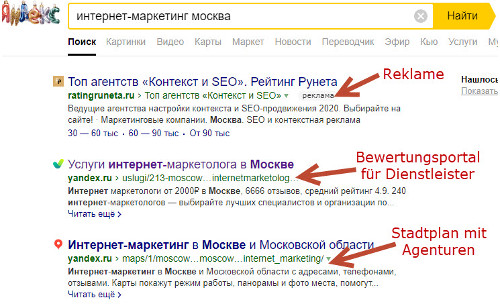 Screenshot Yandex: Internet Marketing Moskau