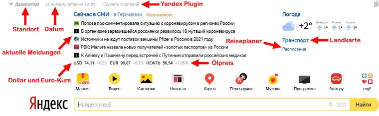 Startseite Yandex