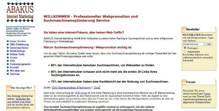 ABAKUS Website 2002 - Screenshot